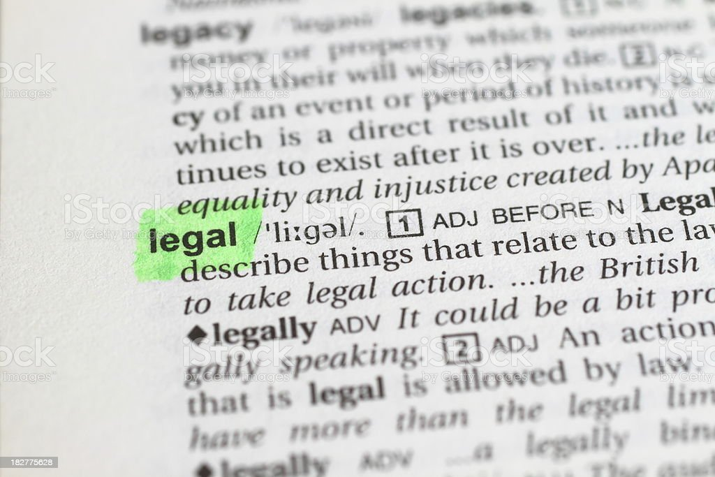 Marked Legal Word stock photo