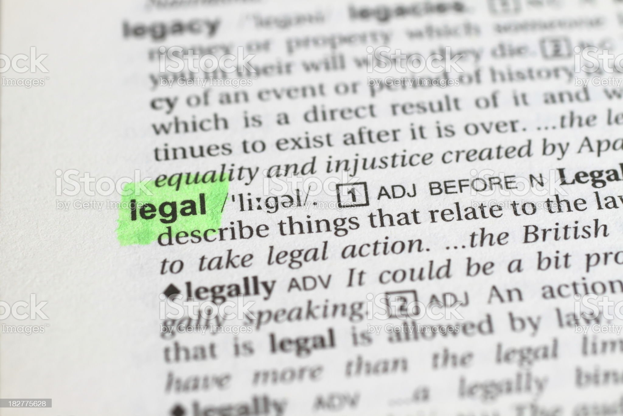 Marked Legal Word royalty-free stock photo