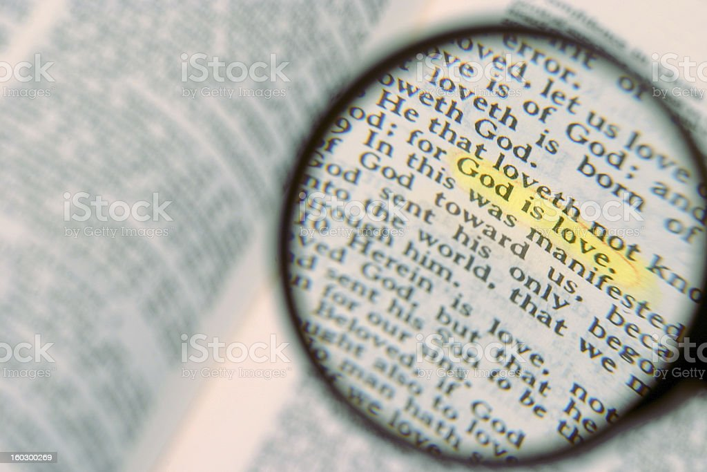 marked phrase in  Holy Bible royalty-free stock photo