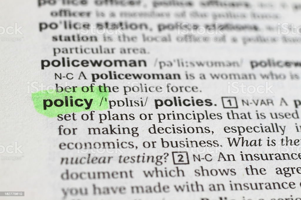 Marked Policy Word stock photo