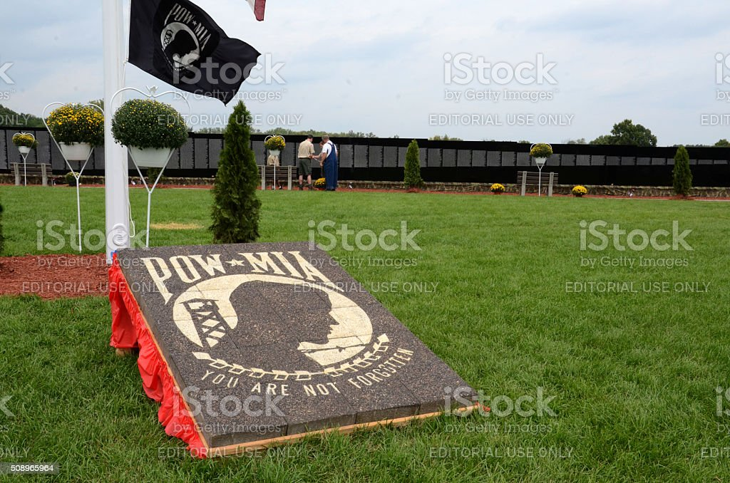 POW MIA marker at the Moving Wall exhibit stock photo