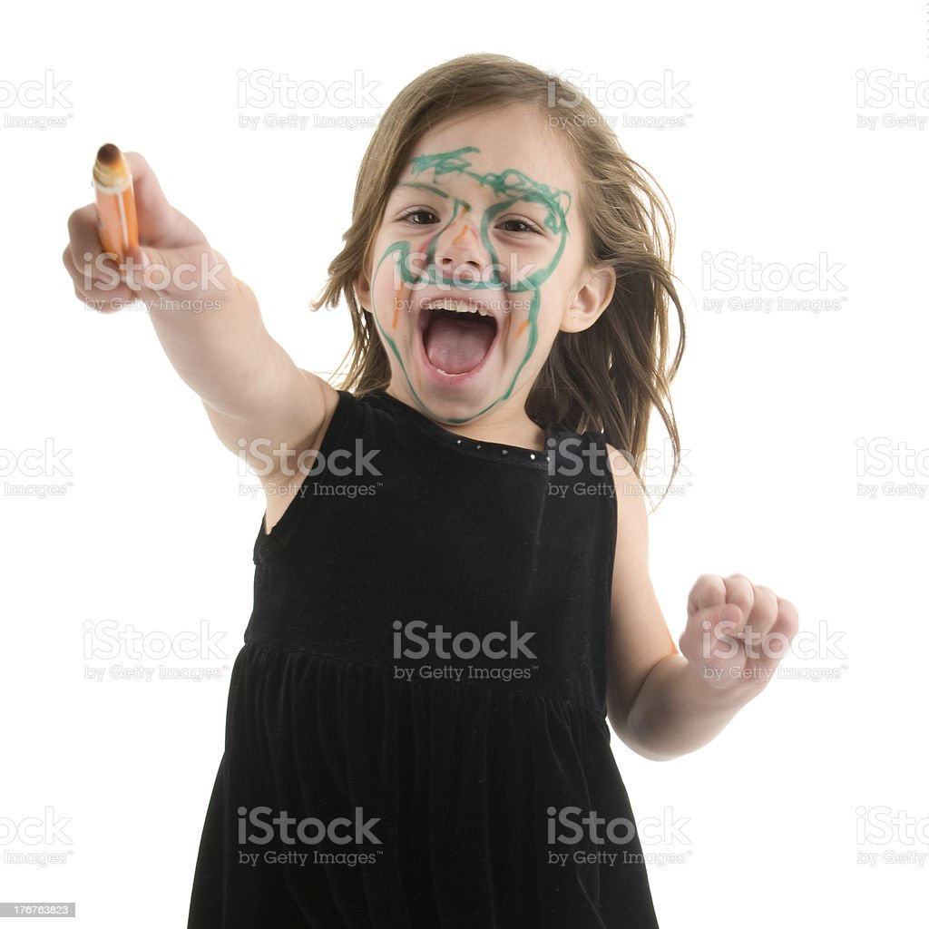 Marker Faced Girl... Budding Make-up Artist? royalty-free stock photo