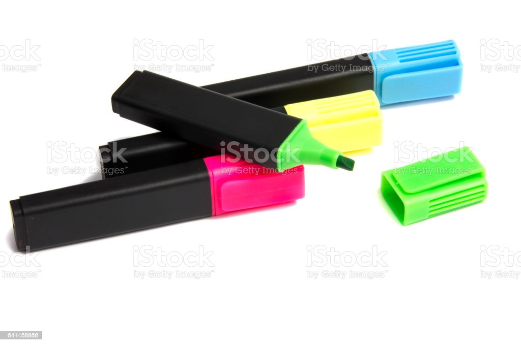 Marker highlighter pen isolated on white background stock photo