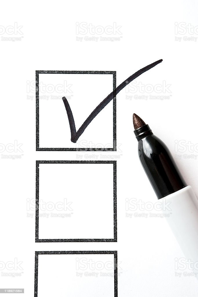 Marker with Check Mark and Box stock photo