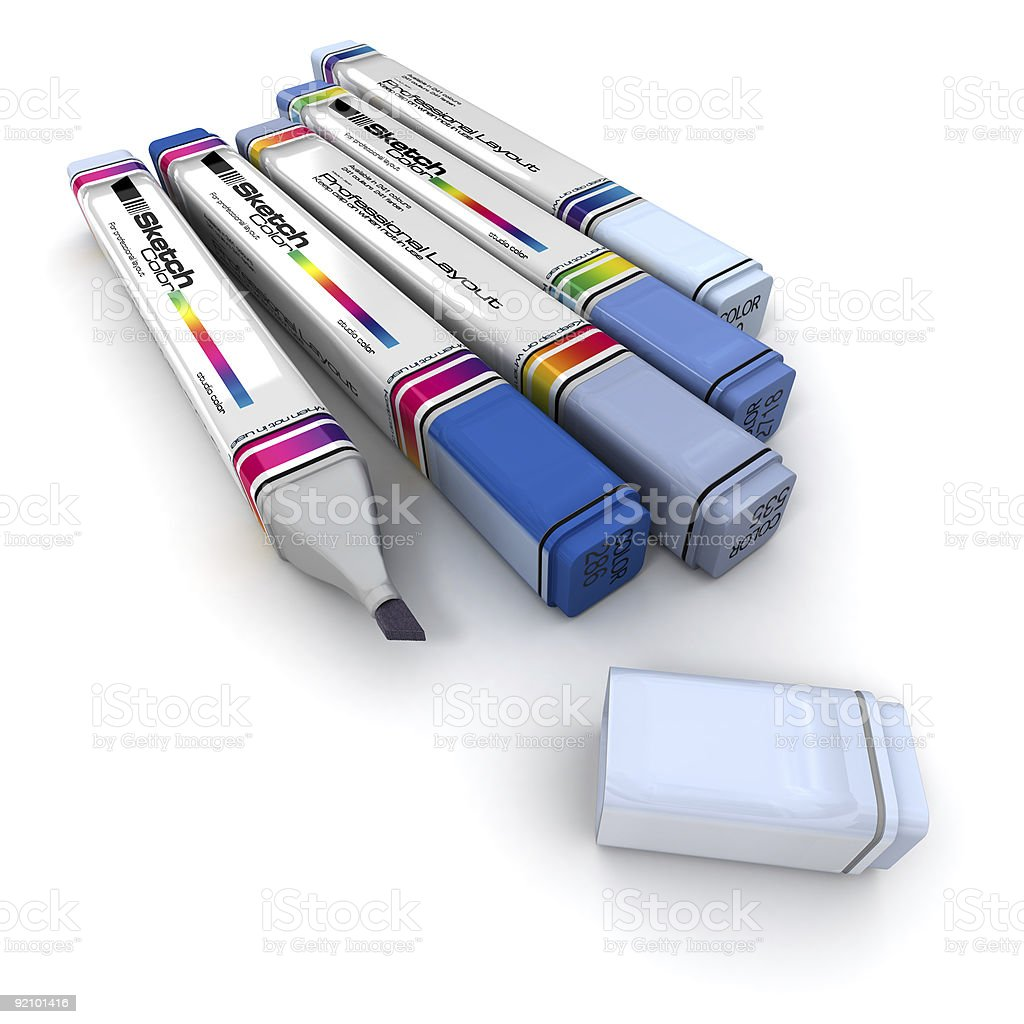 Markers in blue shades stock photo