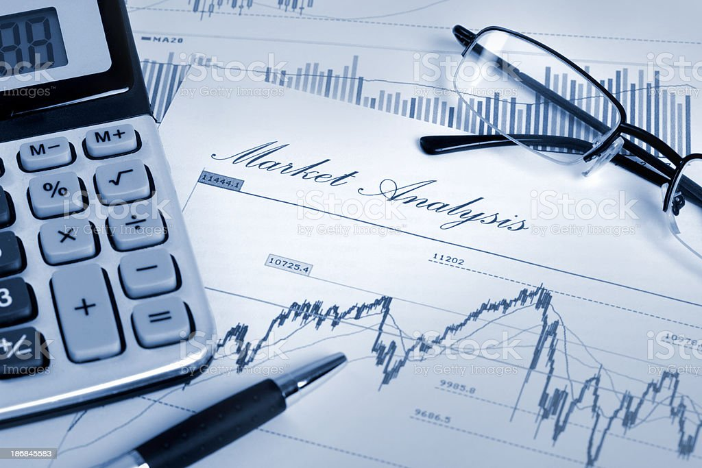 Market analysis with financial and stock market chart royalty-free stock photo