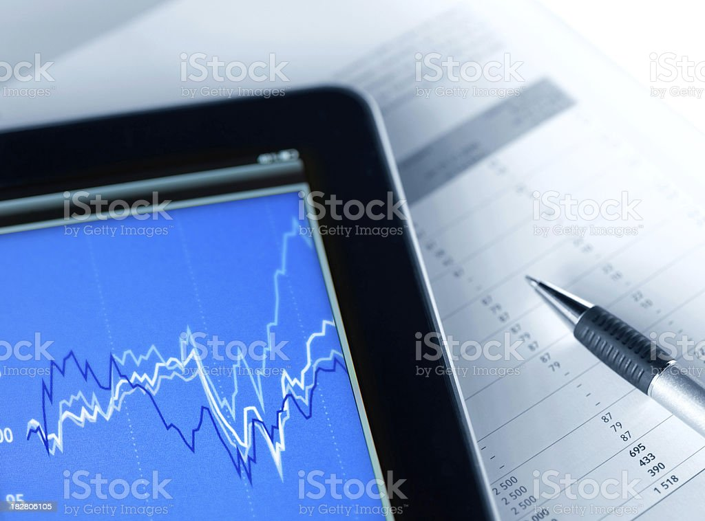 Market Analyze with Digital Tablet stock photo