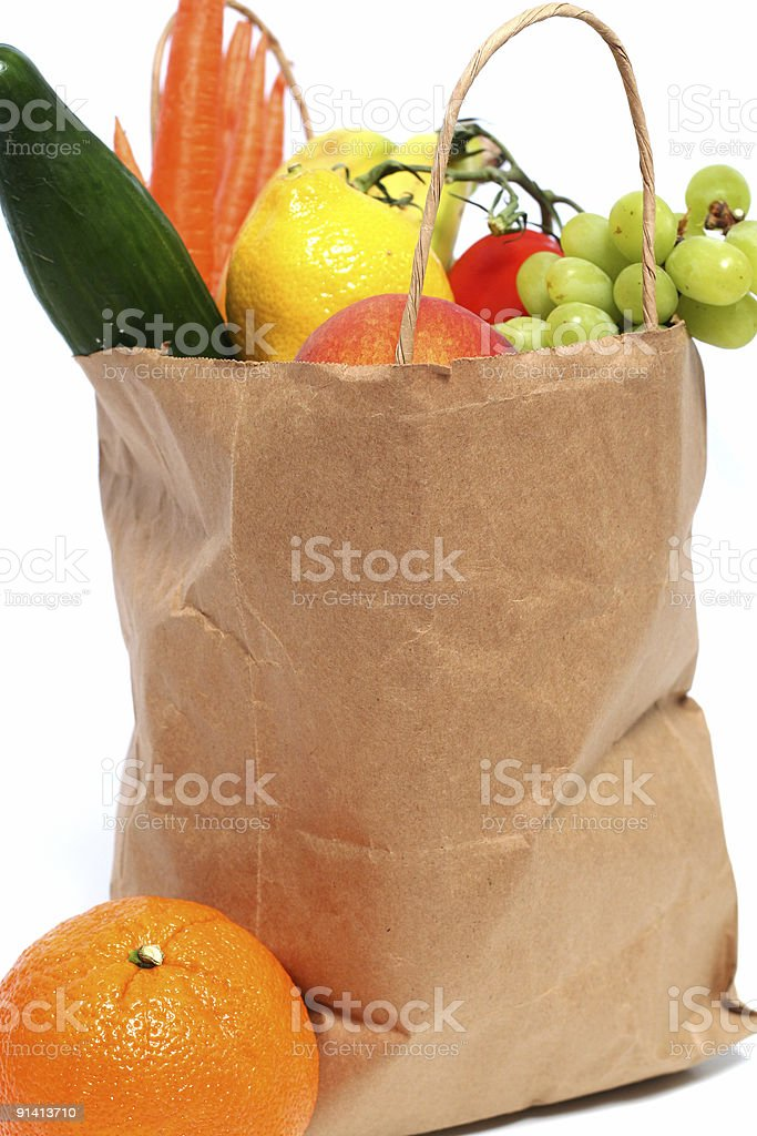 Market bag full of fresh vegetables and fruits royalty-free stock photo