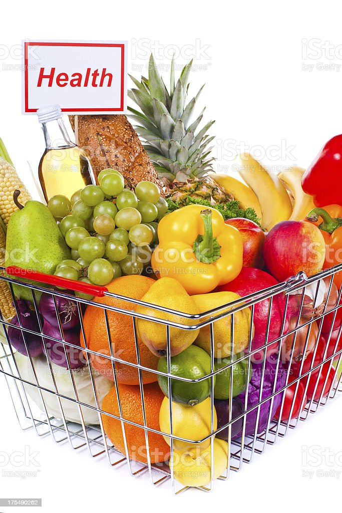 Groceries composition in basket with health sign. Change the sign to...