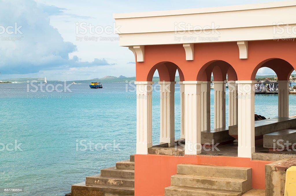 Market building in Bonaire stock photo