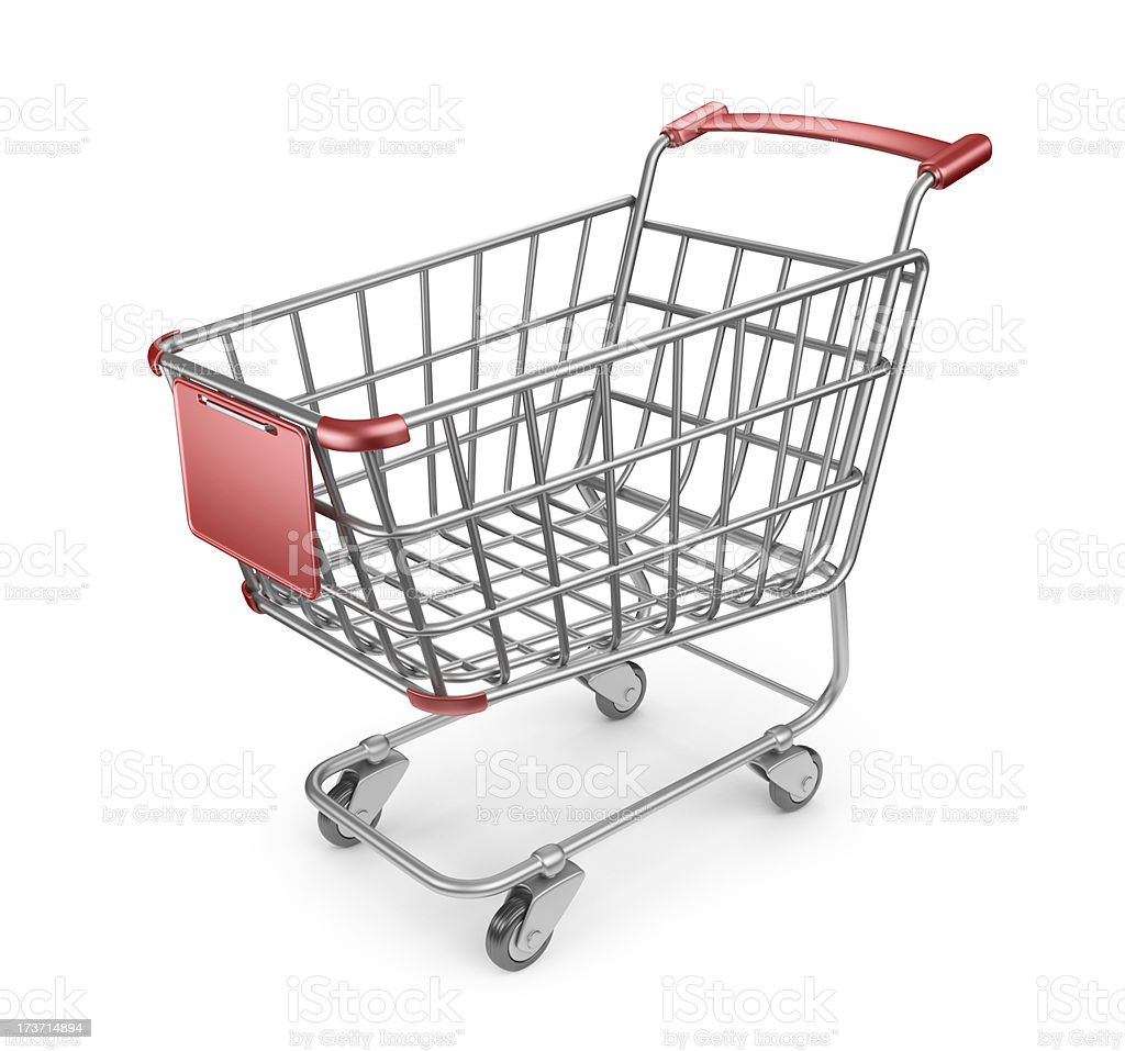 Market cart 3D.  Shopping concept. Isolated royalty-free stock photo