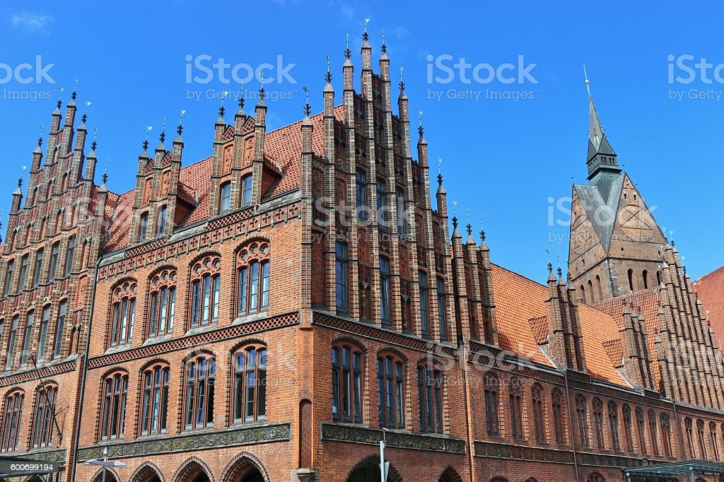 Market church and old town hall in Hanover, Germany stock photo