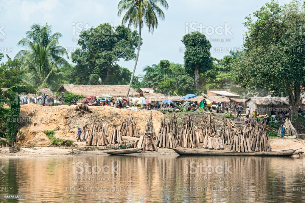 Market day in a village at tCongo River stock photo