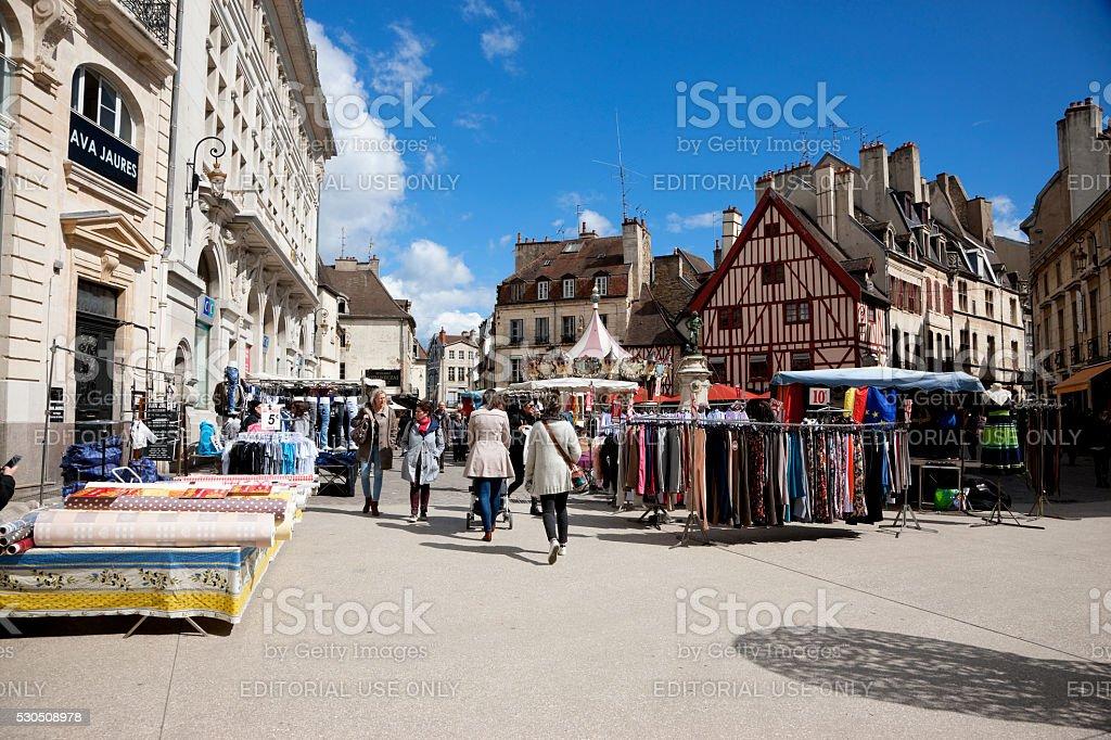 Market day in Dijon, France stock photo
