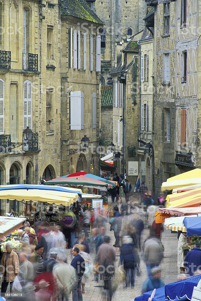 Market day in Sarlat royalty-free stock photo