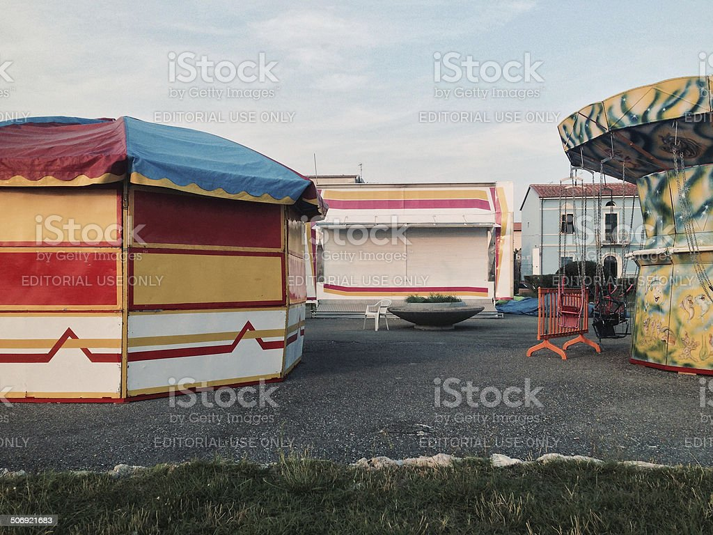 Market fair and funfair in Tuscany, Italy stock photo