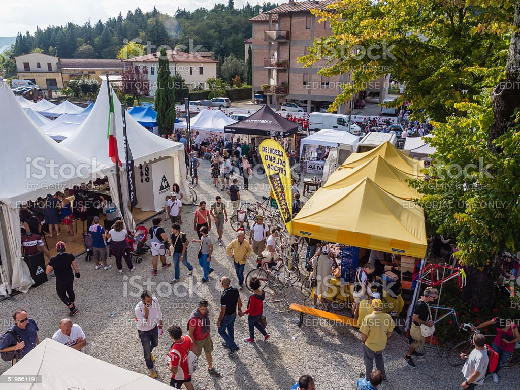 Market for cycling enthousiasts at L'Eroica, Italy stock photo