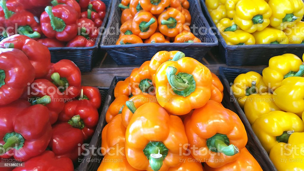 Market Fresh Sweet Bell Peppers stock photo