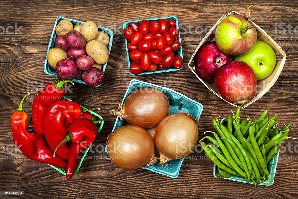Market fruits and vegetables stock photo