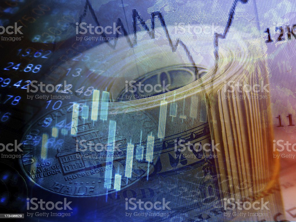 Market graph and rolled dollars. royalty-free stock photo