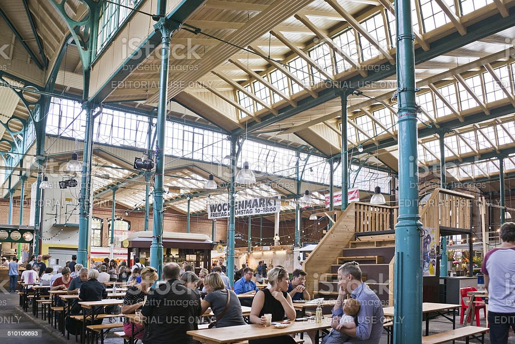 Market hall Markhalle neun, Kreuzberg, Berlin, Germany stock photo