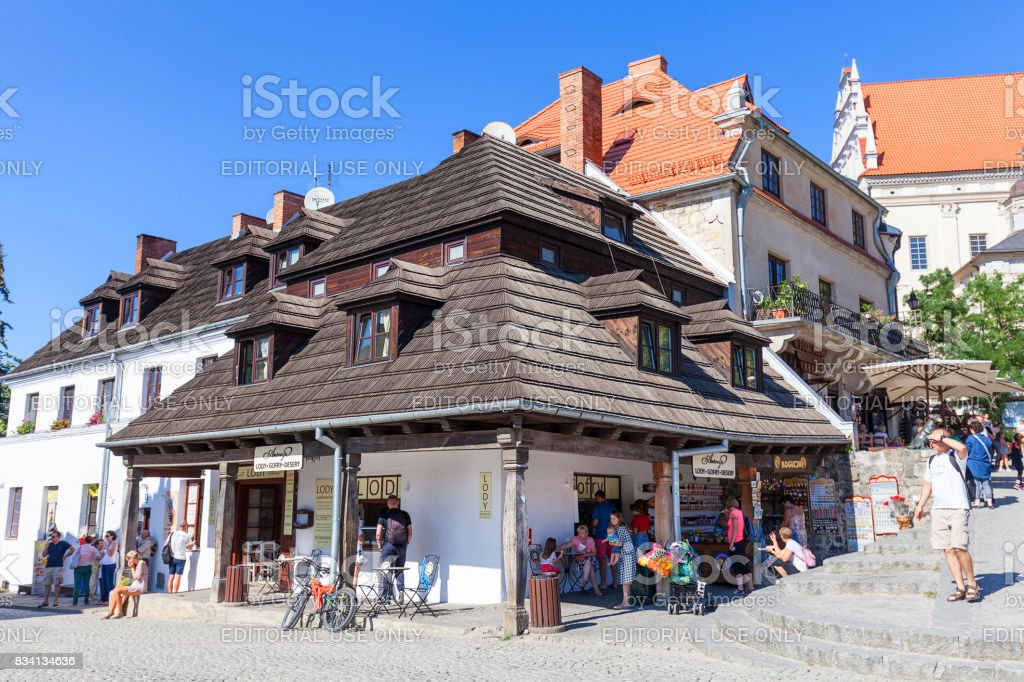 Market in old city of  Kazimierz Dolny at Vistula river, Poland stock photo