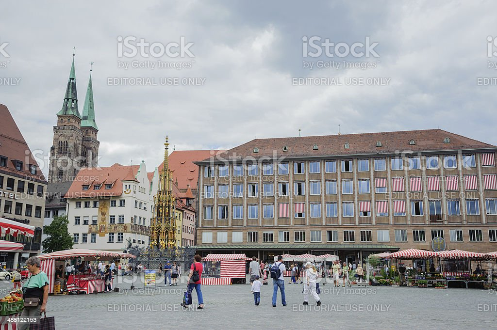 Market in the Hauptplatz, Nuremberg royalty-free stock photo