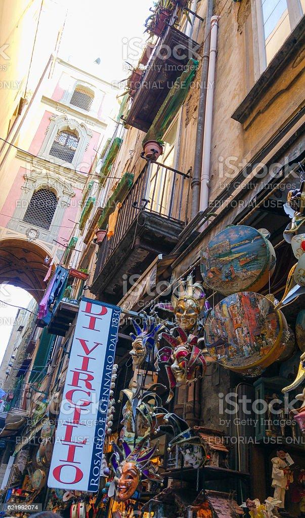 Market in the Street of San Gregorio Armeno, Naples, Italy stock photo