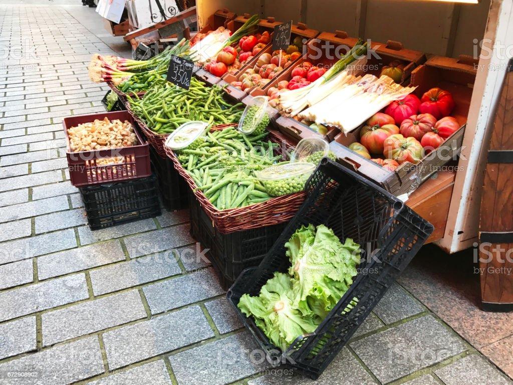 Market in the street stock photo