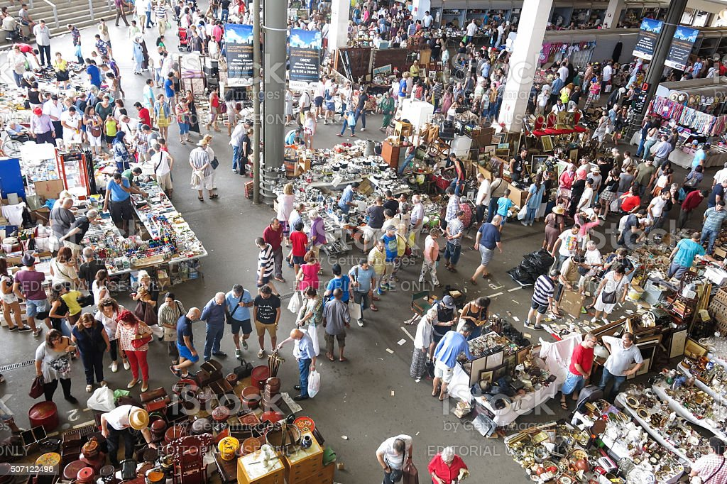 Market of Encantes or Encants, in Barcelona Spain stock photo