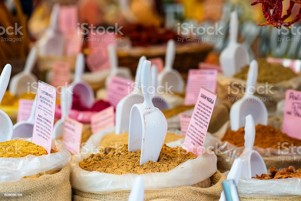 Market of hot spices stock photo