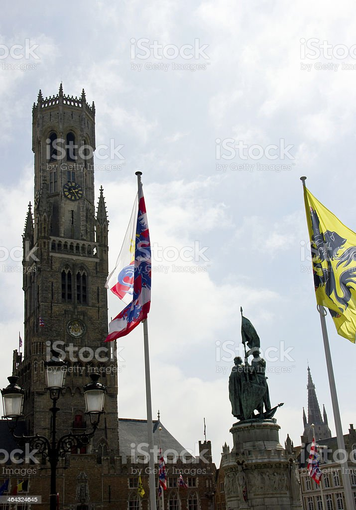 Market Place and Belfry Tower, Bruges stock photo