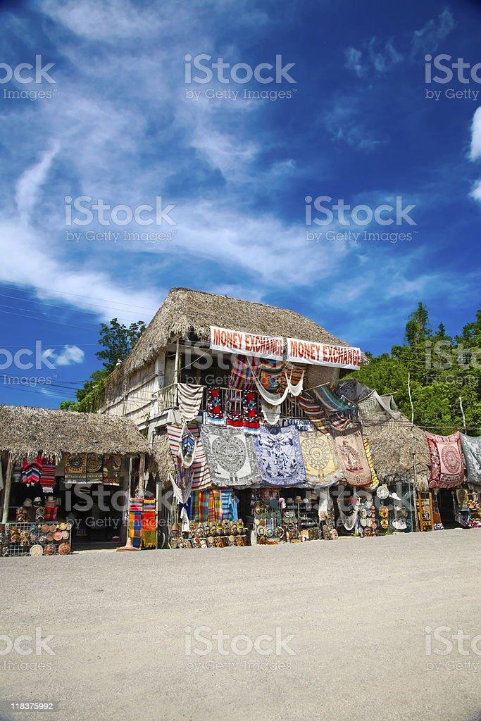 Market place at mayan ruins in Coba, Mexico stock photo