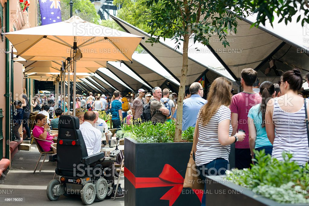 Market place, big crowd enjoing Rock market, Sydney Australia stock photo