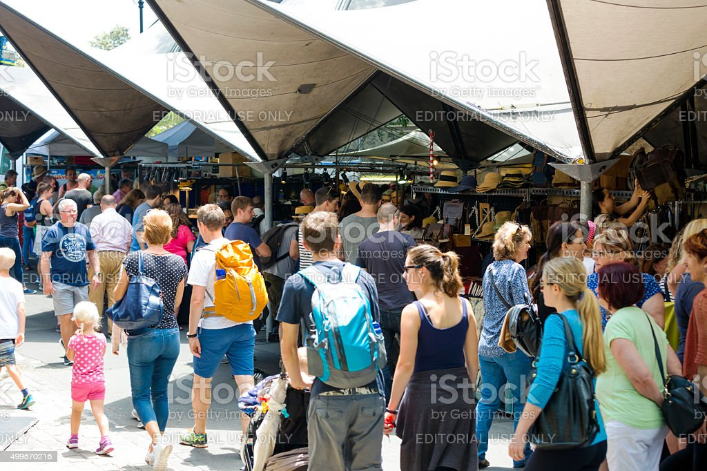 Market place, big crowd enjoying Rock market Sydney Australia stock photo