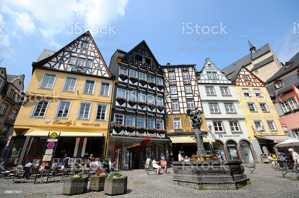 market place Cochem in mosel valley with typical Half-Timbered (Germany) stock photo