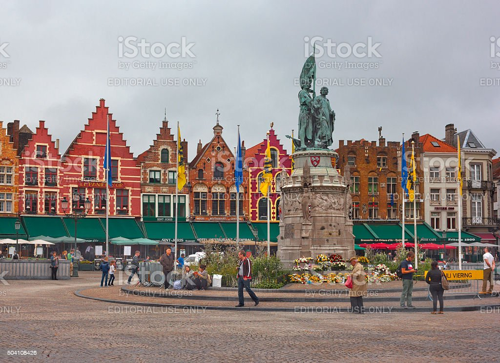 Market Place (Grote Markt) in Bruges, Belgium stock photo