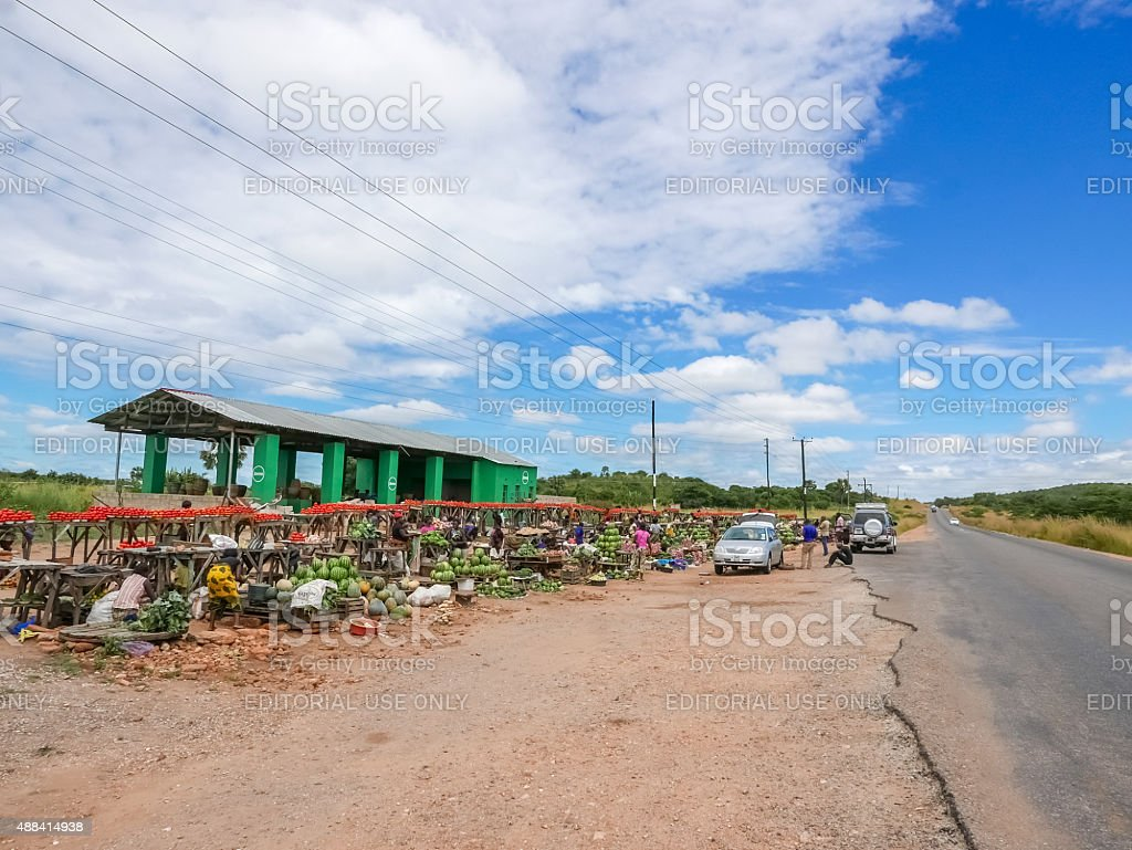 Market place in the countryside in Zambia. stock photo