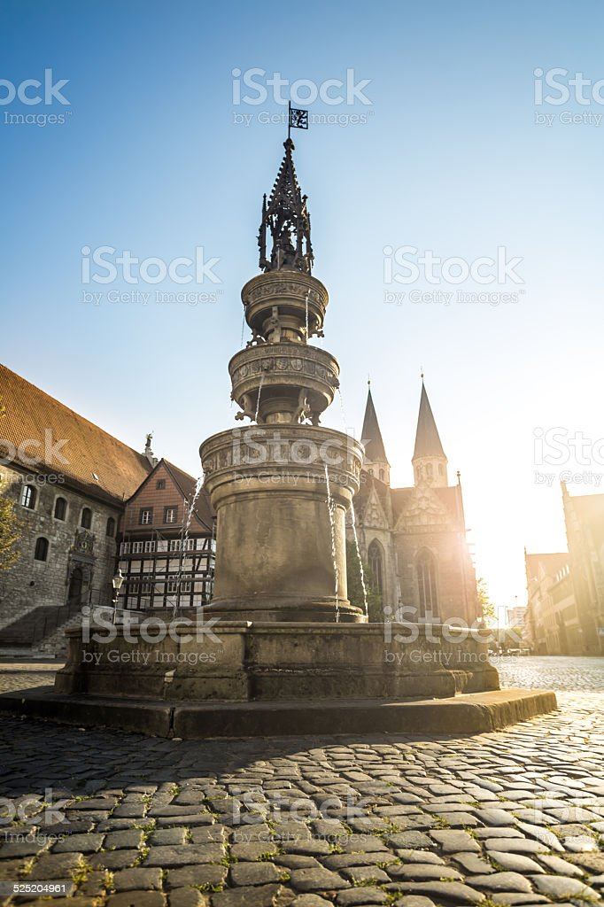 Market place with fountain and church in Braunschweig stock photo