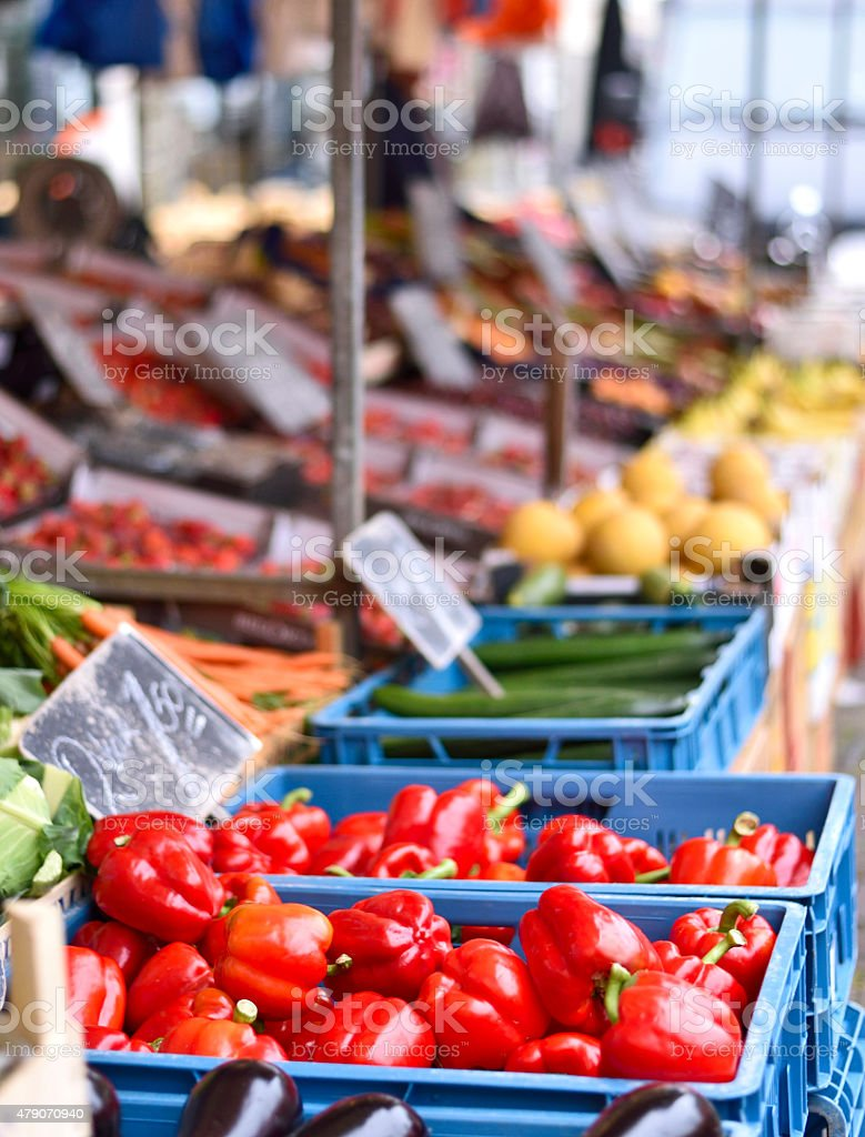 Market place with fresh fruits and vegetables stock photo