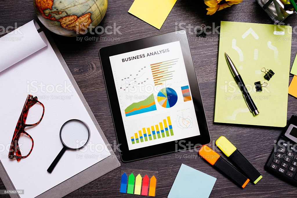 Market research and investment planning for start-up business stock photo