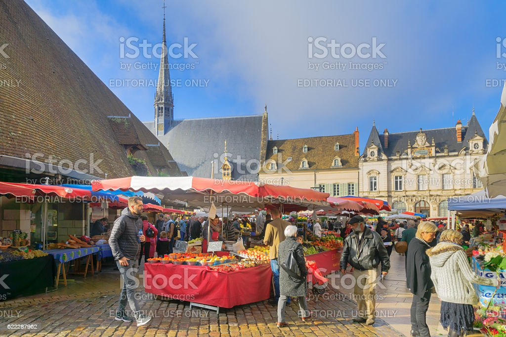 Market scene in Beaune stock photo