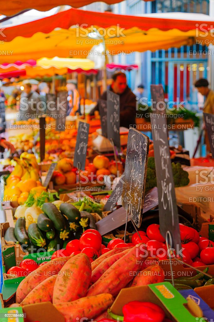 Market scene in Dijon stock photo