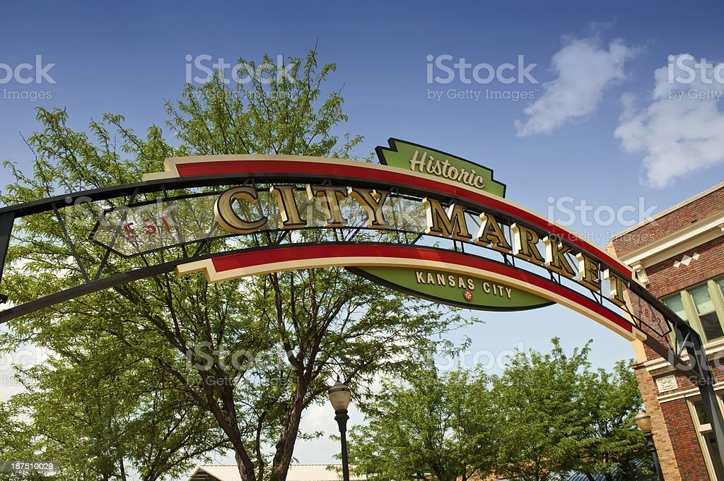 Market sign in Kansas City, Missouri stock photo