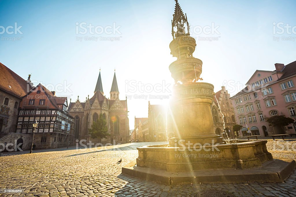 Market space with fountain and church in Braunschweig stock photo