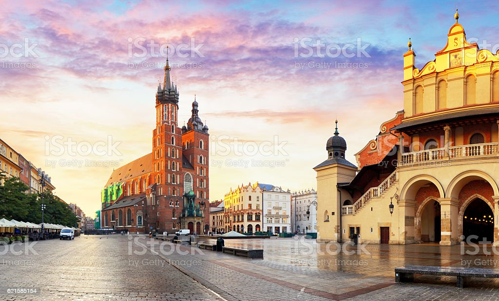 Market Square at sunrise in Krakow, Poland stock photo