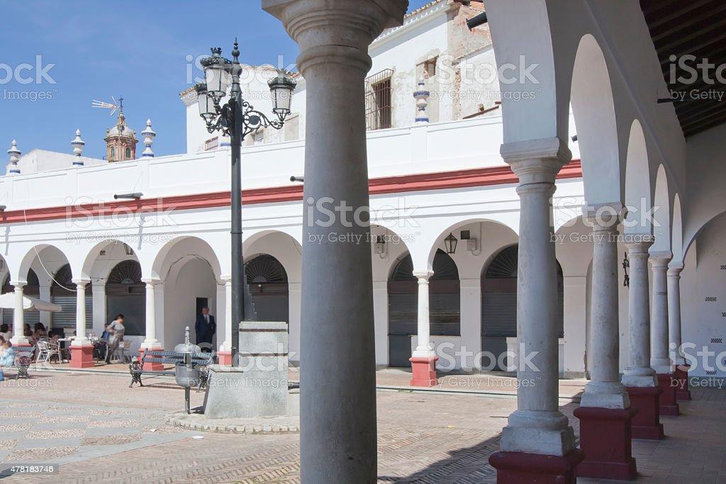 Market Square in Carmona, Seville province, Spain. stock photo