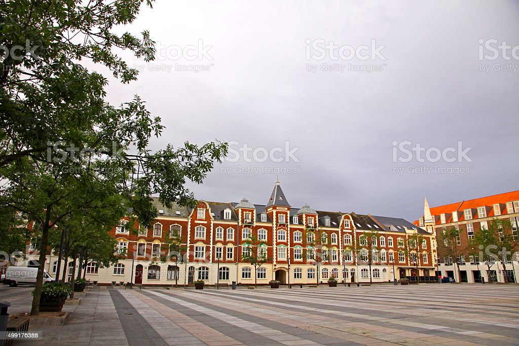 Market Square in Fredericia city, Denmark stock photo