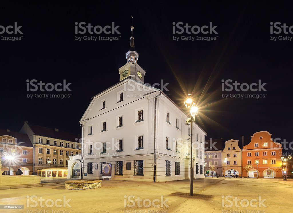 Market square in Gliwice with town hall in the evening stock photo