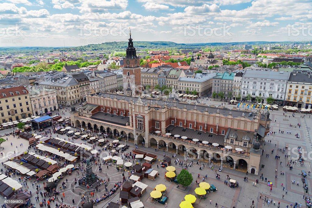 Market square in Krakow, Poland stock photo